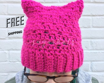 Pussyhat, Pussy Hat, Feminist Hat, Feminism Hat, Cat Beanie, Kitten Hat, Cat Hat, Inauguration Hat, ADULT SIZE ONLY