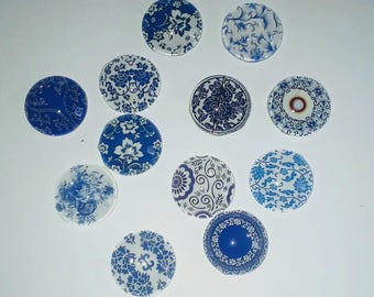 X 15mm blue glass Cabochons 12