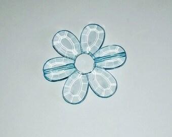Large 1 X Pearl translucent light blue flower 33mm