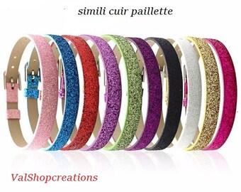 Bracelet faux leather glitter 22cm