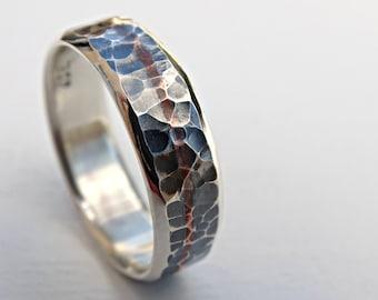 Mens Wedding Band Silver, Man Wedding Ring Silver, Unique Silver Ring  Copper Inlay,
