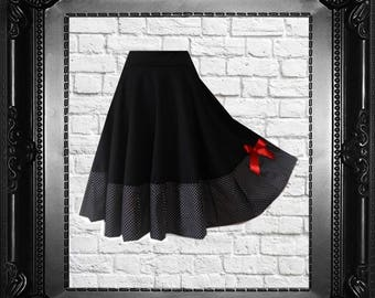 Rockabilly Dotted Skirt Black White Gothic Lolita Pinup Polka Dots Black Cherrys Store Fashion as in fairy tale Eco Friendly
