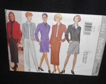Misses Jacket Butterick 4681 Fast Easy Womens 6-10 Skirt Pants Petite Aline tapered