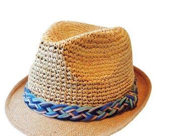 Straw Hat - blue braid