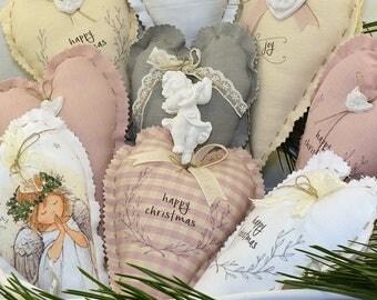 2 customizable Christmas decorations-heart 14 x 14 cm