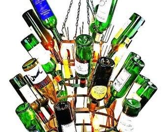 Steel Finish Eight Light Iron Wine Bottle Chandelier French Riddling Rack