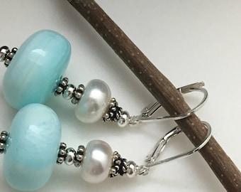 Large Peruvian Opal Earrings, Pearl earrings, Gemstone Earrings, Silver Earrings, Gemstone Beaded Earrings, Aqua Earrings, Earrings under 75
