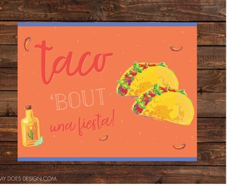 "Fiesta, Cinco de Mayo, Mexican Fiesta, Taco Party, Happy Hour, Adult Party Sign - 8.5x11"" Instant Download, Printable"