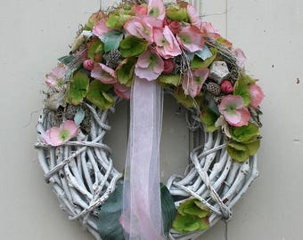 Wreath Shabby chic country house with pink and green hydrangea silk flowers 30 cm