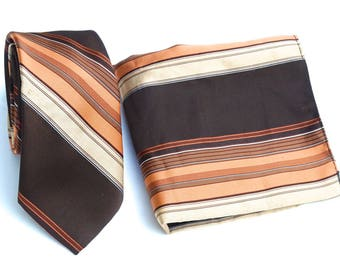 "Tie and Pocket Square Set,Vintage Don Loper Necktie,70s Brown Striped Tie with Matching Pocket Square,Retro Polyester 3"" Tie,Halloween"