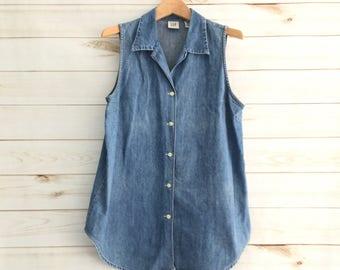 Vintage 90's Gap Denim Oversized Vest Women's Medium