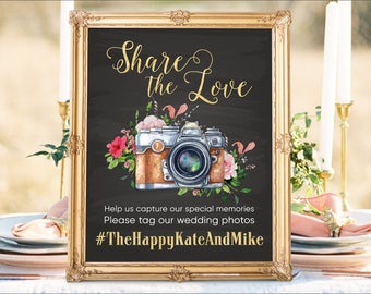 Digital Printable Botanical Wedding Signs Share the Love sign Instagram Sign Photo Hashtag Sign Chalkboard Sign Social Media Signs - IS10