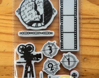 Vintage Hollywood Cling Stamp Set 1 - Graphic 45 - Cinema - Film Movie - Art Deco - Magic - 12 Pieces