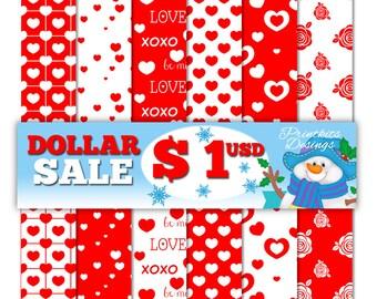 Valentine's Digital Paper Pack, Valentine's Papers, Red Digital Paper, Hearts Digital Paper, Scrapbook Paper. Seamless Patterns  PK_DP561