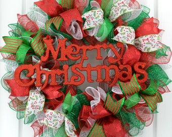 Christmas wreath - Emerald Green Christmas wreath - Mesh Christmas wreath - Merry Christmas wreath - Red Green White Christmas wreath