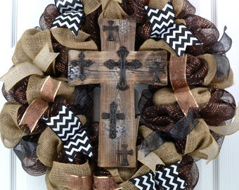 Cross wreath - everyday wreath - year round wreath - religious wreath - sympathy wreath - rustic wreath - mesh wreath - brown wreath