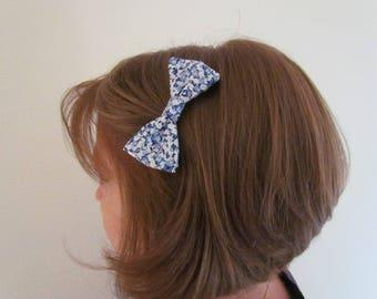 Blue floral bow hair clip