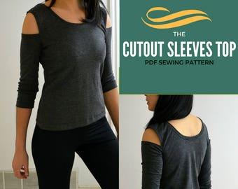 The Cold Shoulder Knit Top PDF printable sewing Pattern and Sewing tutorial including sizes 4 to 22