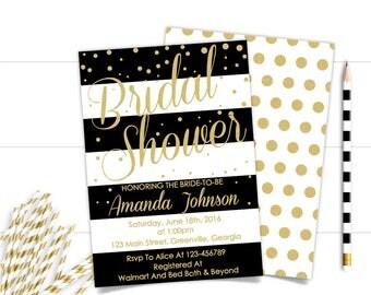 Gold and Black Confetti Printable Bridal Shower Invitation,Glitter Bridal shower,Elegant Bridal Shower Invitation, Modern Bridal Invitation