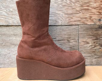 Brown Faux Sueded Leather Big Platform Wedge Ankle Boots US Women's 8.5-9