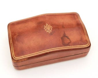 florentine leather box gold embossed fleur de lis humpback box vintage italy florence leather trinket - Cufflink Box