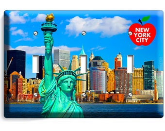 statue of liberty NYC New York City Manhattan skyline sky big apple triple light switch wall plate cover living room NY bedroom office decor