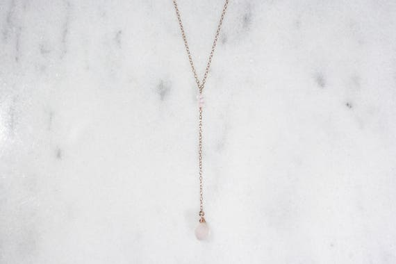 Rose Quartz and 14k Rose Gold Filled Y-Necklace // Delicate & Dainty Lariat Necklace // Gifts for Her // Bridesmaid Gift