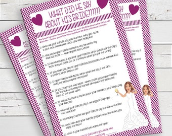 Purple What did he say about his Bride, Bridal Shower Game, Wedding Shower Game, Couples Shower Game, Instant Download