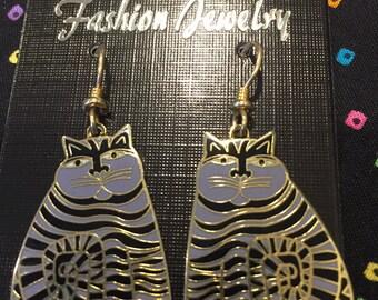 "Laurel Burch Earrings  ""Shambala Cat"" Enamel Earrings Lavender with gold tone 1986 Signed Ready for Adoption"