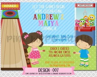 Arcade Siblings Games:Design #007-Children's Birthday Party Digital Invitation File 4x6 or 5x7 Free Thank You Card with Purchase