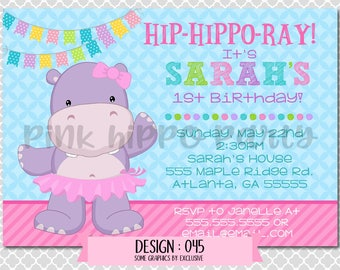 Purple Hippo, Tutu Girl:Design #045-Children's Birthday Party Digital Invitation File 4x6 or 5x7 Free Thank You Card with Purchase