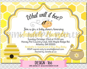 Honey Bumble Bee Baby Shower:Design #166-Baby Shower Invitation, Free Thank You Card with Purchase, Digital 4x6 or 4x7 file emailed