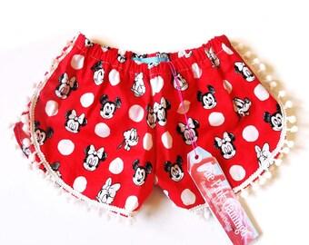 Children's Red Disney Pom Pom Shorts