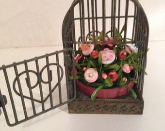 Vintage Valentine  Button Bokay/Bird Cage Planter/Holiday Home Decor/Shabby Cottage Chic/
