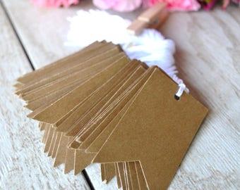kraft bulk hang tags with string, bulk kraft price tags, bulk kraft wedding favor tags, bulk kraft gift tags- 50 tags