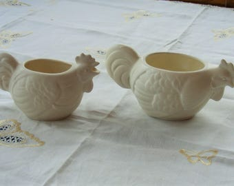 1950's Vtg Ceramic White Rooster / Chicken Creamer and Sugar Bowl