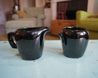 Frankoma Black Glaze Creamer #5DA & Sugar Bowl #5DB