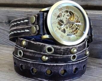 Leather watch for men's, Steampunk Watch, Black Distressed Leather Watch, Men's Wrap watch, Gift, Mechanical Watch