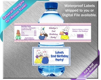 Max and Ruby Water Bottle Labels - PRINTED OR FILE - Birthday Party Supplies Favors