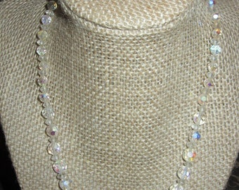 1950's Aurora Borealis Clear Crystal Beaded Strand Necklace & Earrings