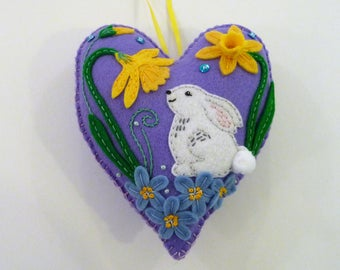 Felt Heart Ornament, Felt Rabbit, Felt Bunny, Easter Bunny Ornament, Spring Decor, Doorknob Hanger, Doorknob Pillow, Embroidery Decoration