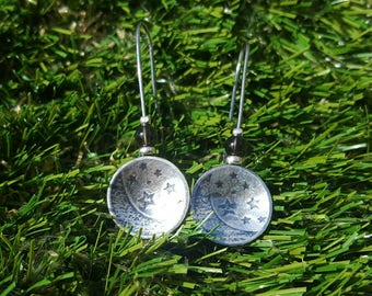 Sterling Silver 925 Nature Star and Moon Texture Drop Earrings with Smokey Quartz and Sterling Silver Beads