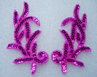LR04 Left & Right Sequin Bead Applique Fuchsia Sewing on Fashion/Dancewear/Gown