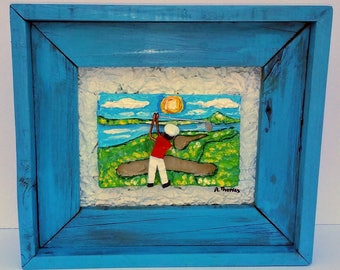 The Golfer Original 3D Mixed Media Golf Art Painting Gift PGA, Golfing, Reclaimed Wood Frame