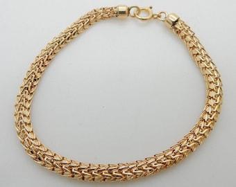 "Solid Vintage 14K Yellow Gold 3.5mm Woven Snake Box Bracelet-7""; sku # 4961"