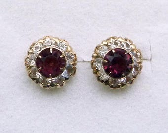 10K Yellow gold Art Deco purple and clear paste halo screw back stud pierced earrings