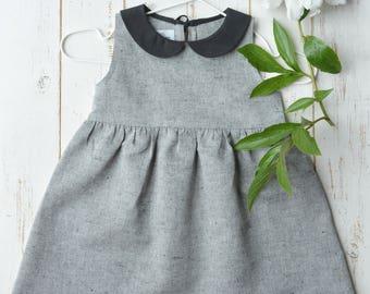 Girls Dress Bottom Frill Sleeveless Linen/Cotton
