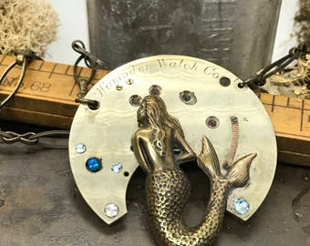 Mermaid  Steampunk jewelry- artistic Steampunk Necklace - The Victorian Magpie