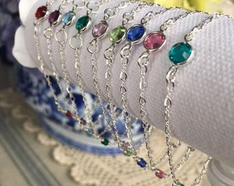 Birthstone bracelet  ~  all sterling silver ~ hand wired ~