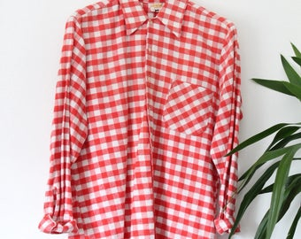 Red & white VINTAGE Plaid flannel Check Shirt